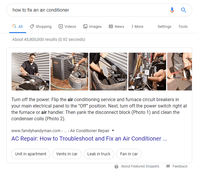 Featured snippet showing how to fix an air conditioner